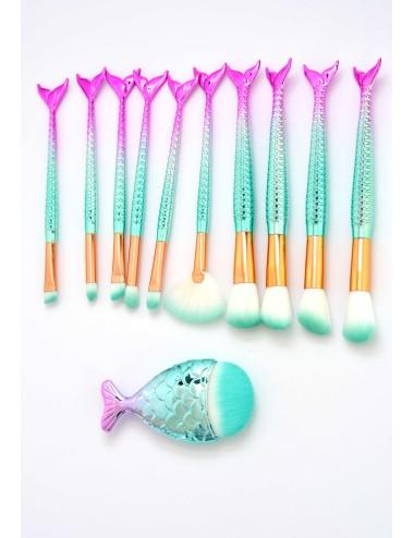 Set 11 brochas diseño de sirena con brocha de pez