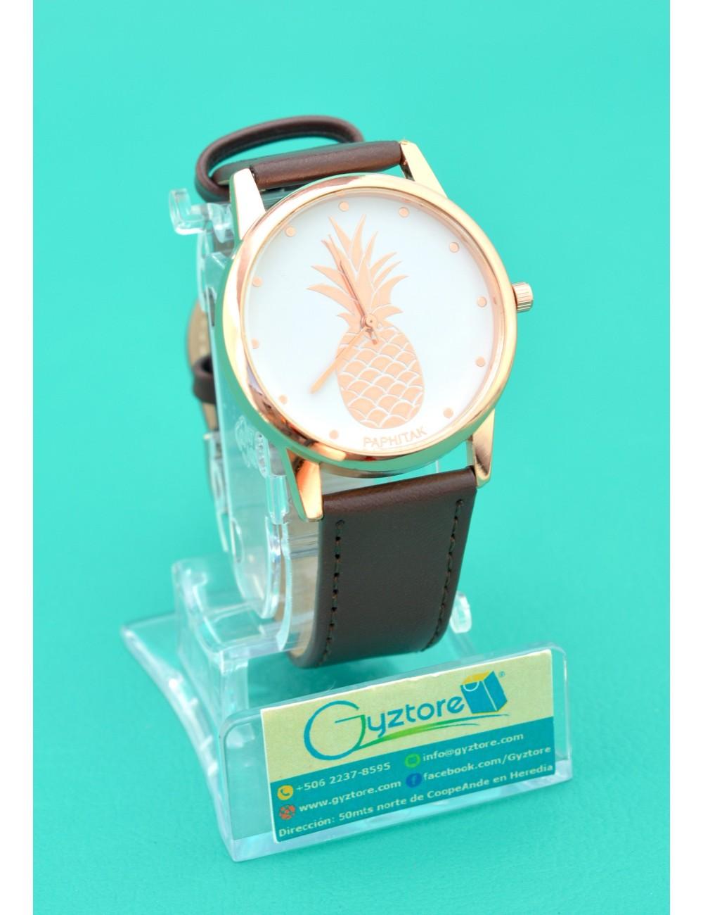 Reloj Fondo de Piña Dorada