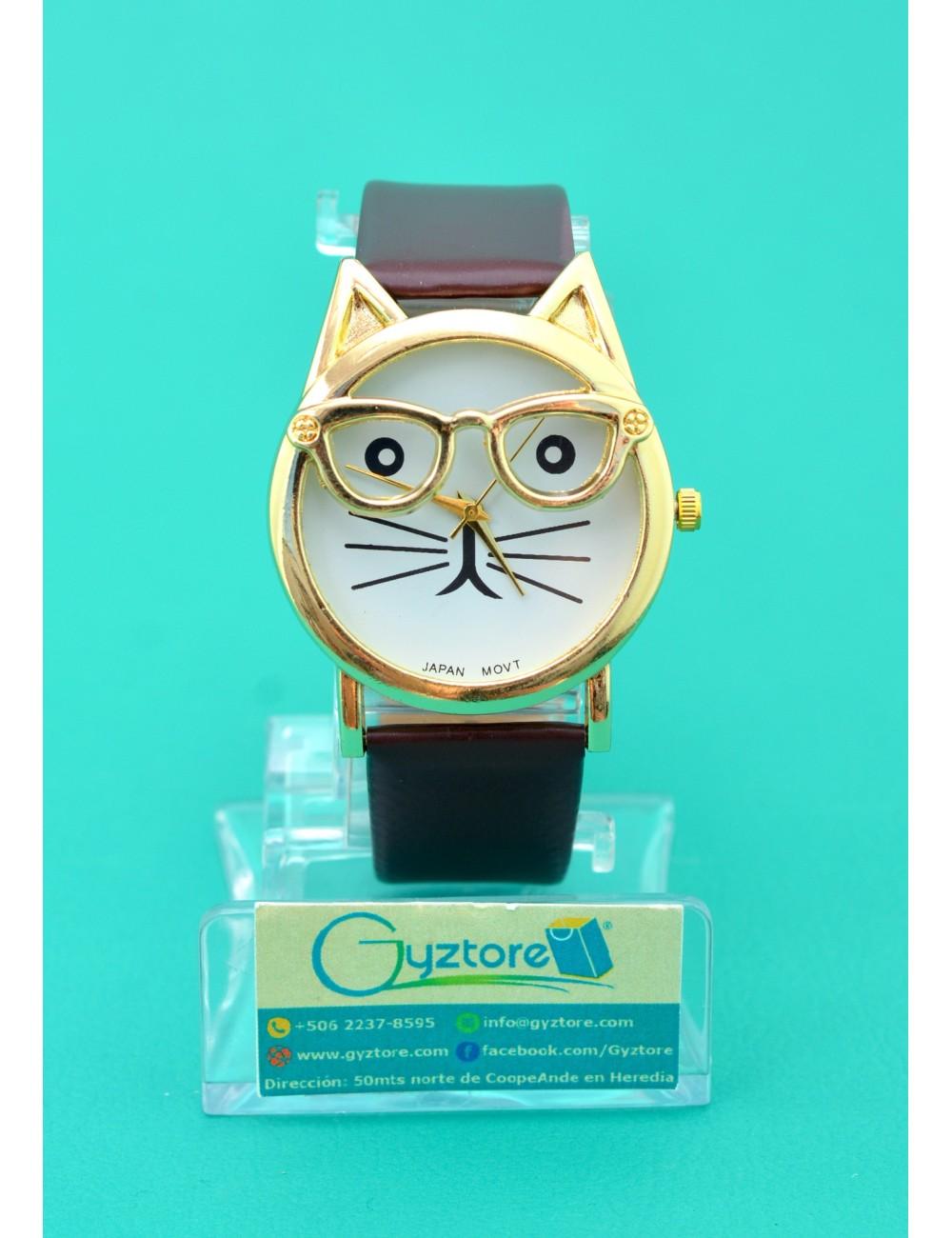 Reloj de gato con anteojos