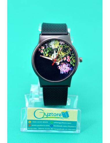 Reloj Negro con Estampado de Flores