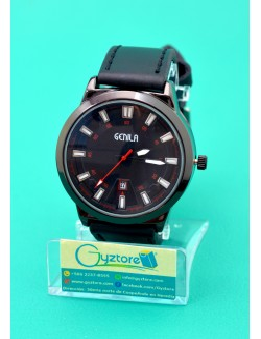 Reloj Genila Negro Casual con Faja de Cuero