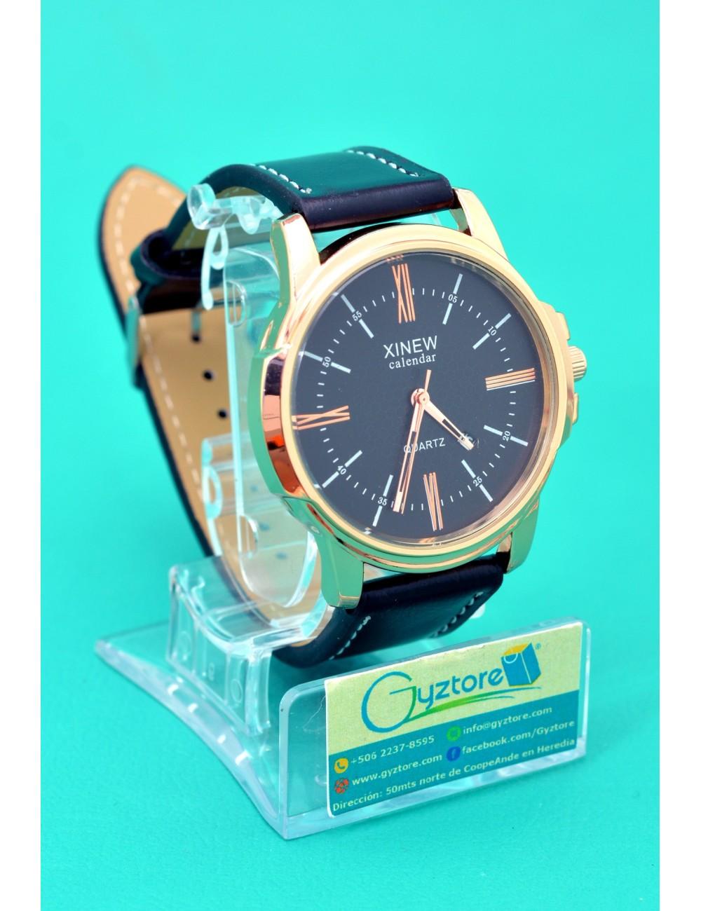 Reloj Casual Elegante Carátula Dorada XINEW