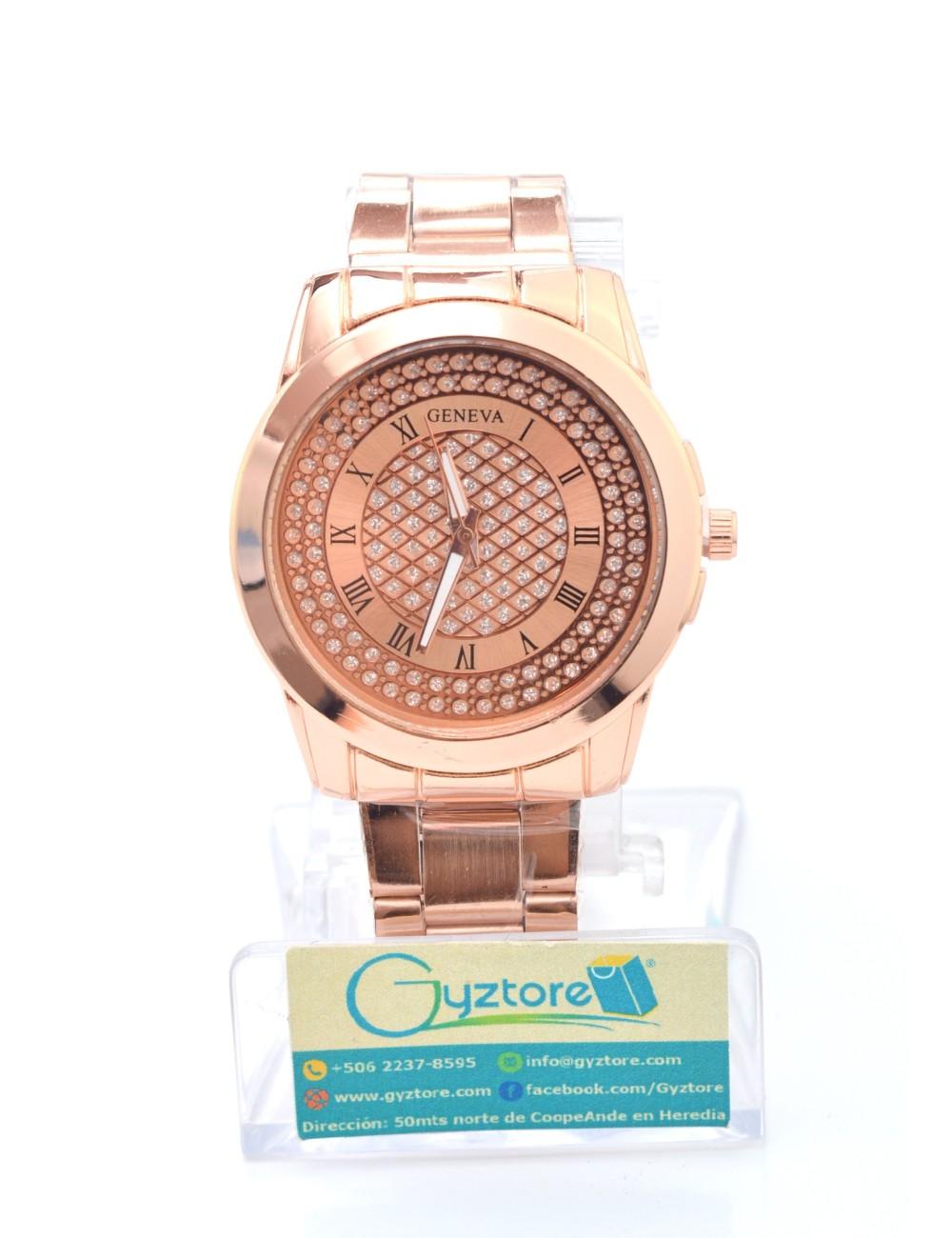 Reloj Geneva Fino con Brillantes y Números Romanos
