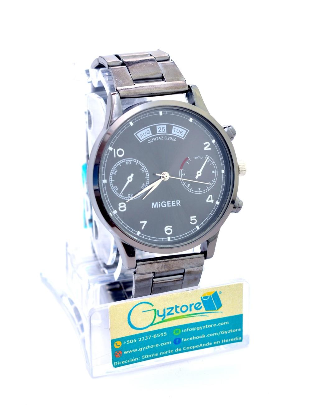 Reloj de Acero Inoxidable Gris Oscuro MiGeer