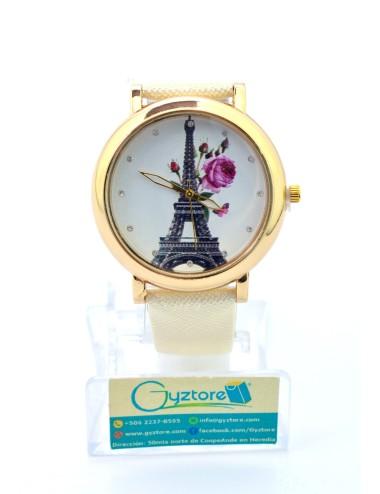 Reloj Diseño de París con Flores Faja Brillante