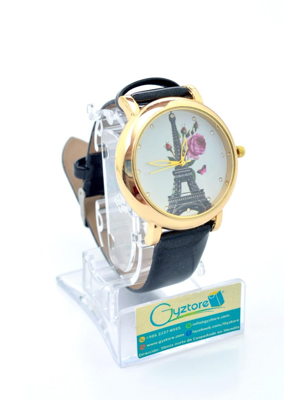 Reloj Diseno de Paris con Flores Faja Brillante