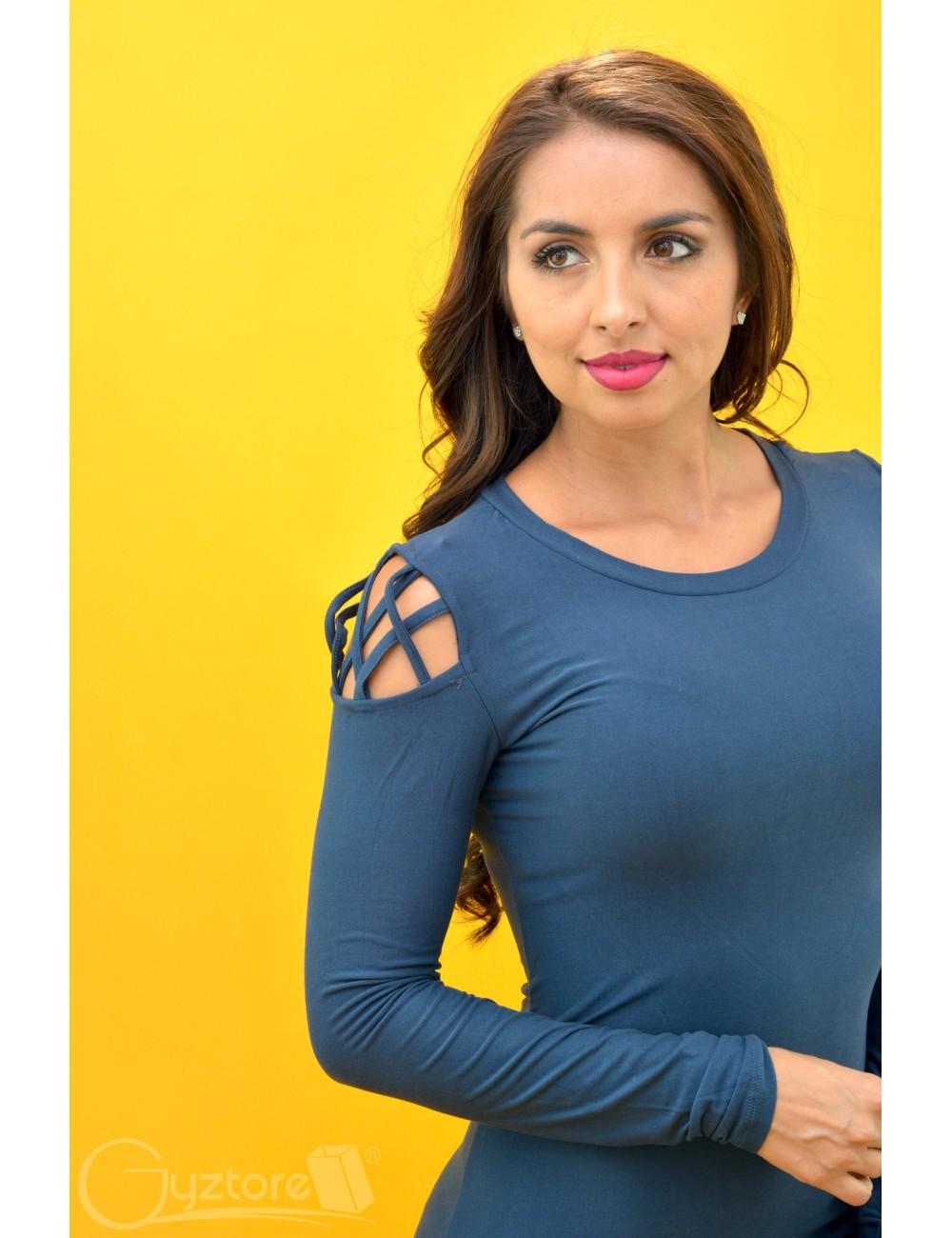 Vestido azul manga larga con detalle en hombros