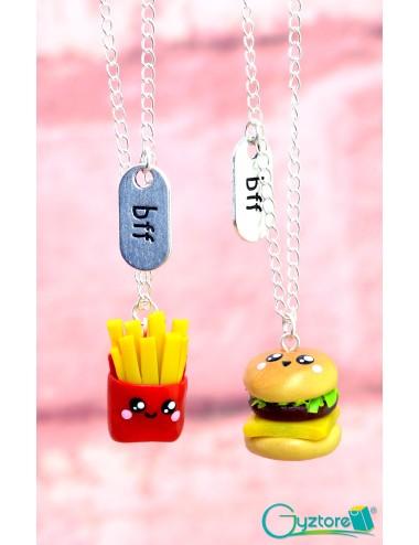 Collar de papas y hamburguesa para Mejores Amigos