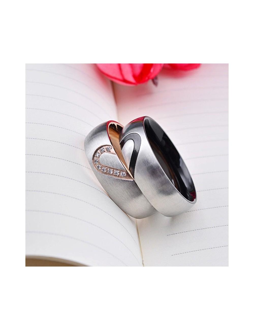 Anillos para parejas de Titanio diseño de corazón