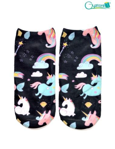 Medias color negro con diseño de Unicornios y arcoiris