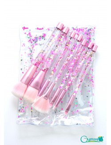 set 7 brochas cerdas rosadas con liquid gel