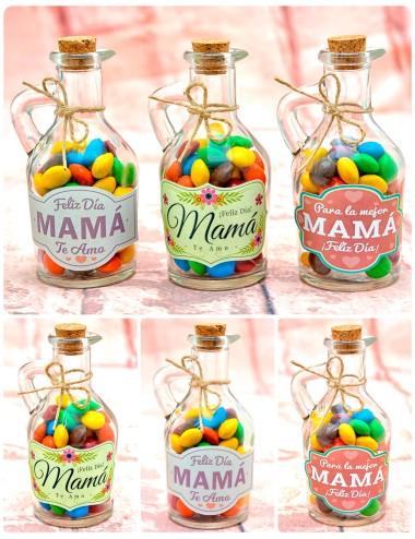 Botellitas rellenas de chocolates para Mamá