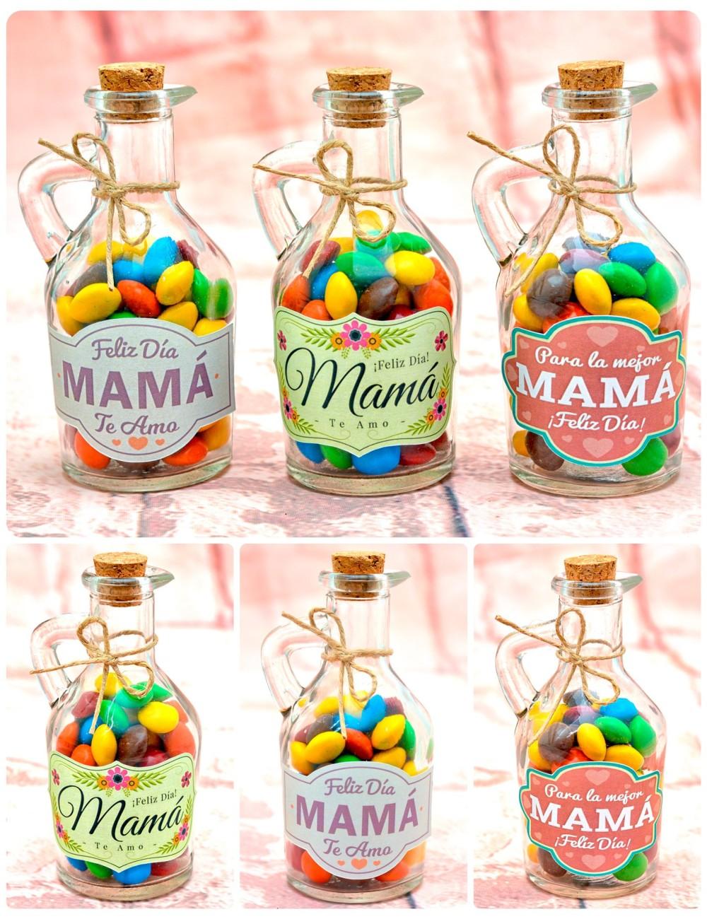 Botellitas rellenas de botonetas para Mamá