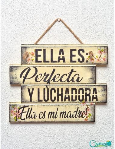 """Cuadro artesanal """"Ella es Perfecta y Luchadora"""""""