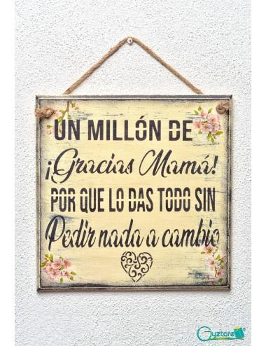 """Cuadro artesanal """"Un millón de gracias Mamá"""""""