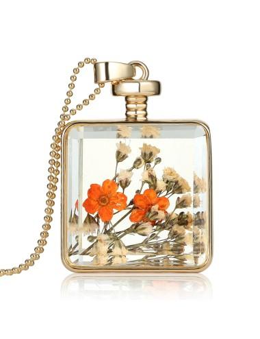 Collar encapsulado dorado cuadrado flores anaranjadas