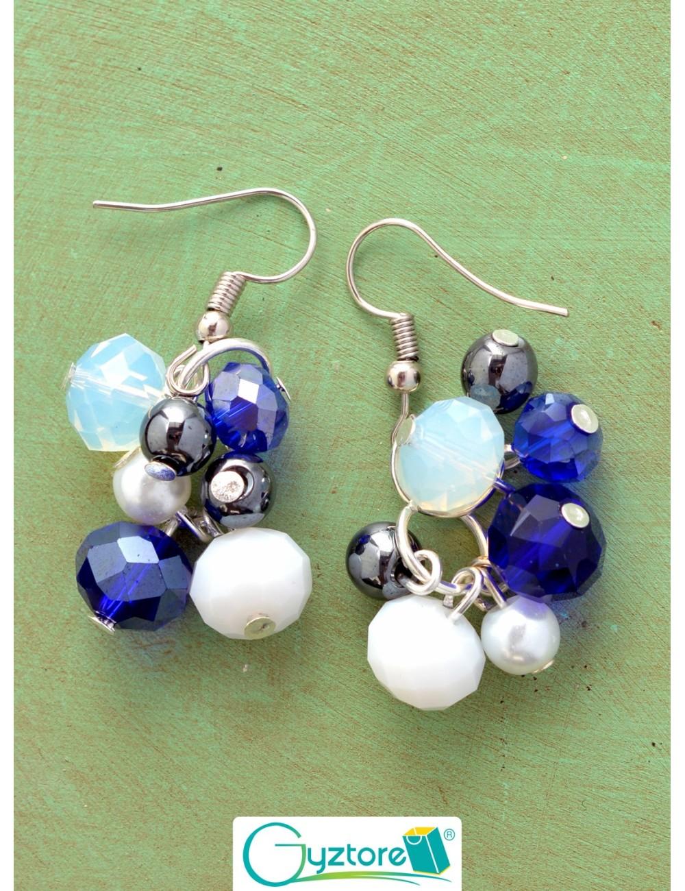 Aretes azules con cristales