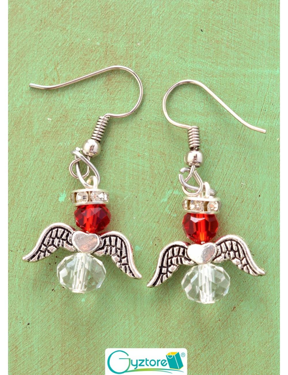 Aretes diseño de angel con cristales