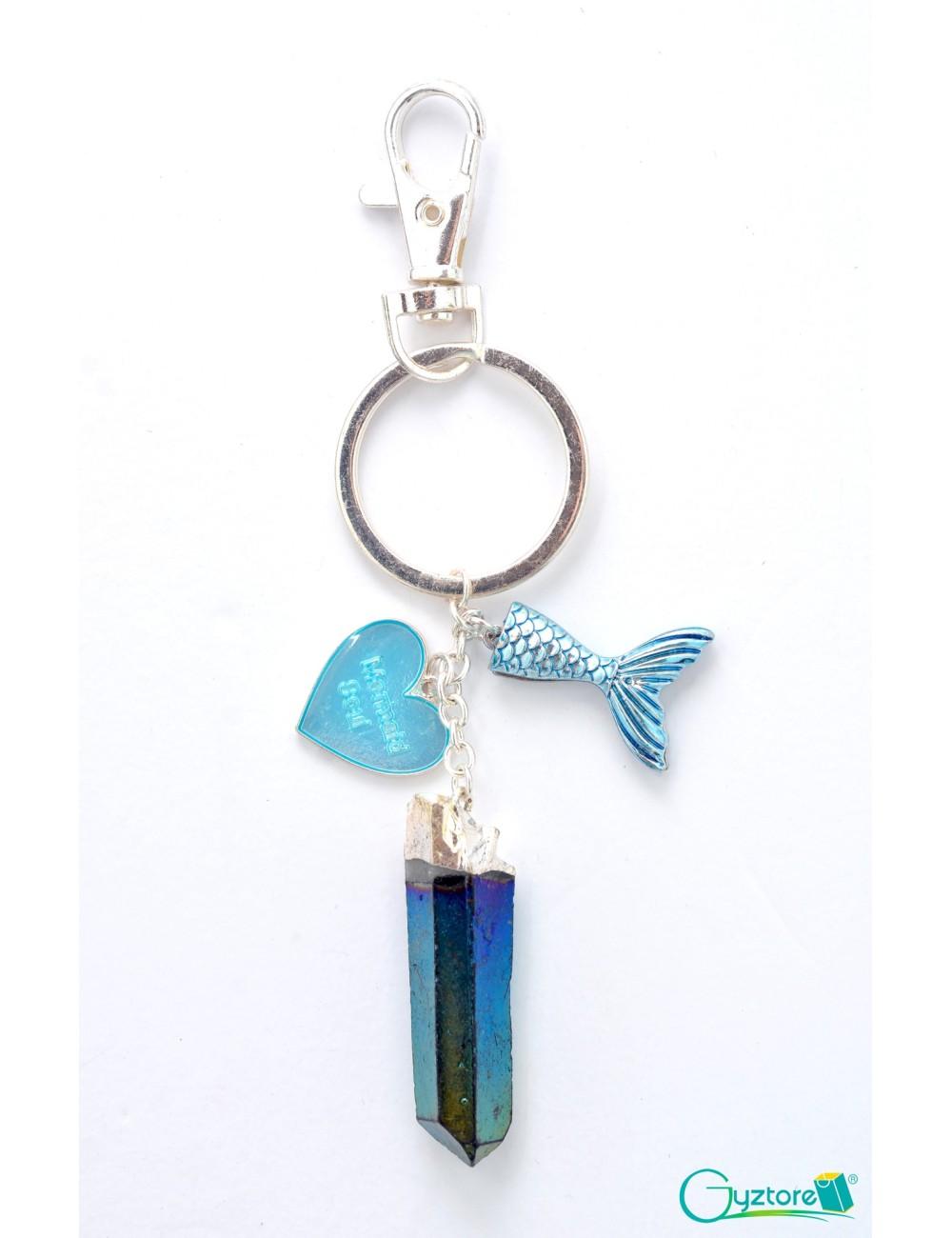 Llavero de Sirena con Piedra Azul
