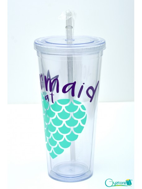 "Vaso de plastico grande con pajilla ""Mermaid at Heart"""