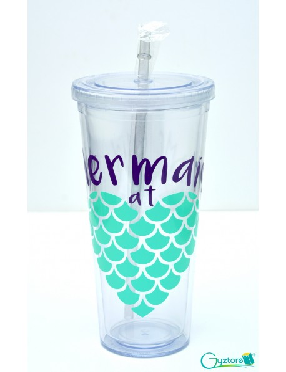 """Vaso de plastico grande con pajilla """"Mermaid at Heart"""""""