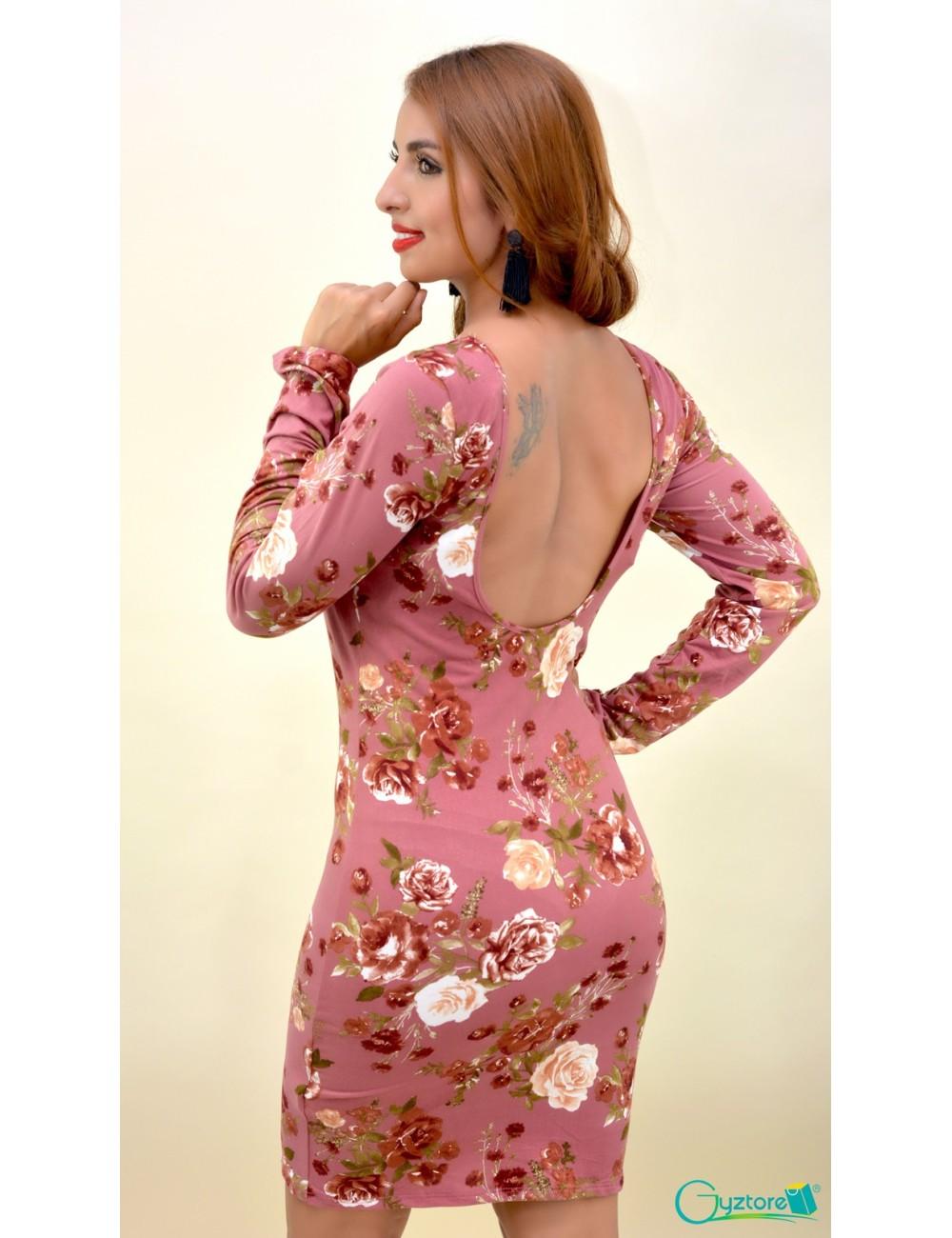 Vestido floreado cuello alto espalda descubierta