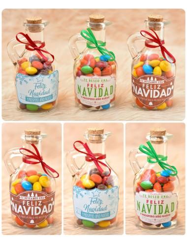 Botellitas Navideñas rellenas de chocolates