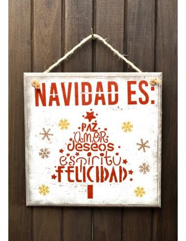 """Cuadro artesanal """"Navidad es"""""""