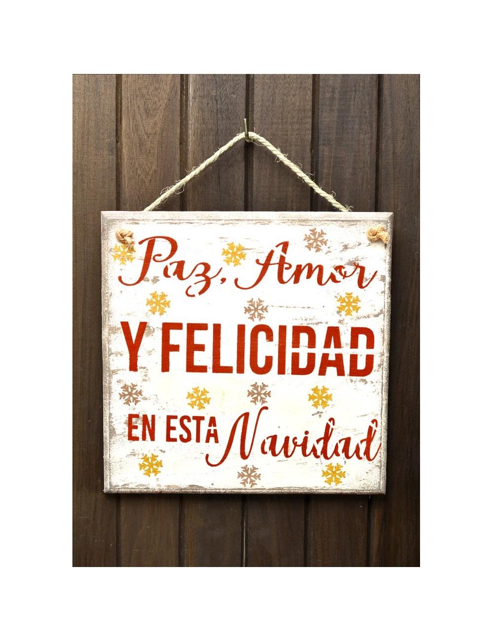 """Cuadro artesanal """"Paz, Amor y Felicidad"""""""