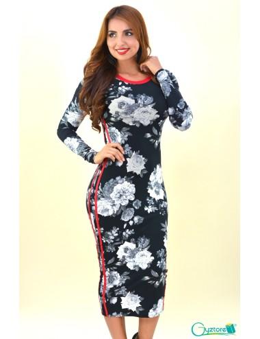 Vestido largo negro floreado con rayas vino