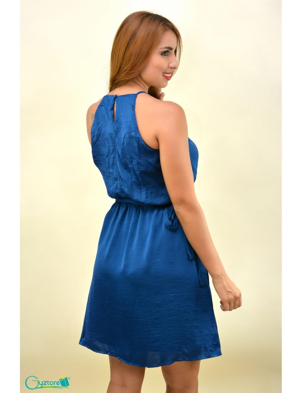 Vestido azul sin mangas cuello cuadrado