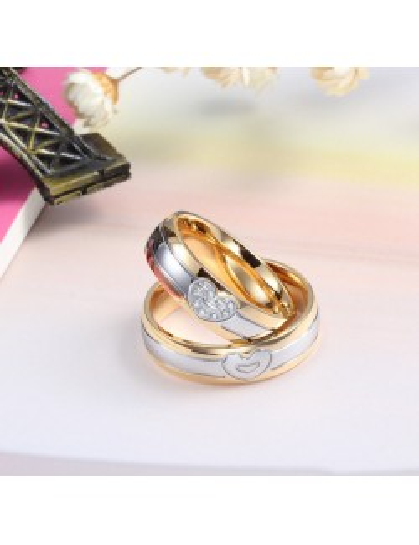 Anillos para parejas de acero dorado con plateado