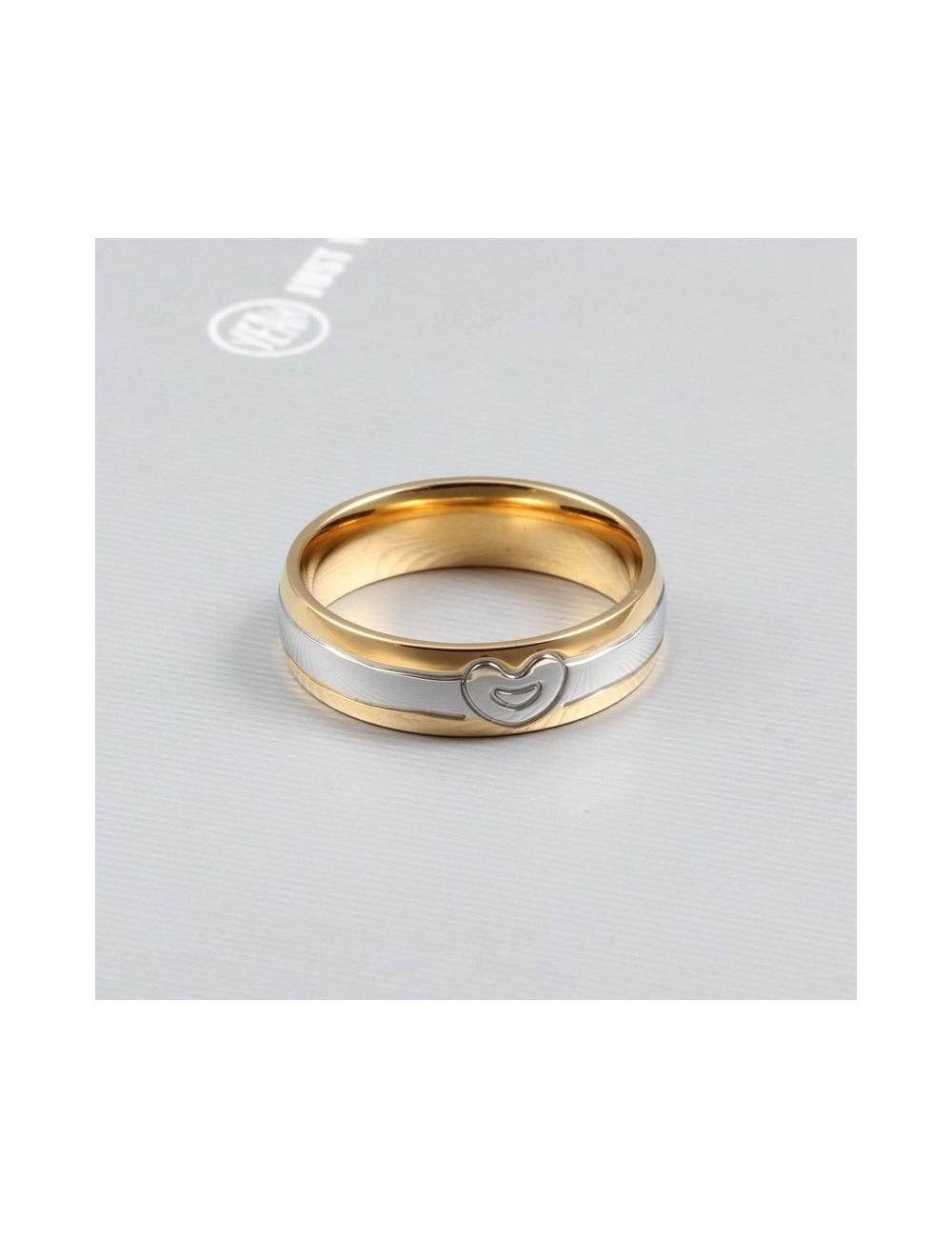Anillos para parejas de acero dorado con plateaado