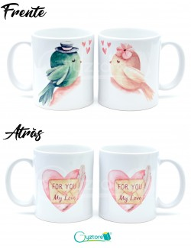 Tazas para parejas diseño de pajaritos