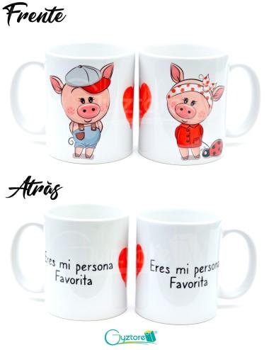 Tazas para parejas diseño de chanchitos