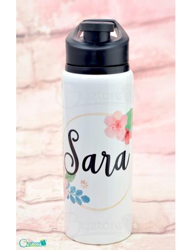 Botella blanca personalizable con nombre