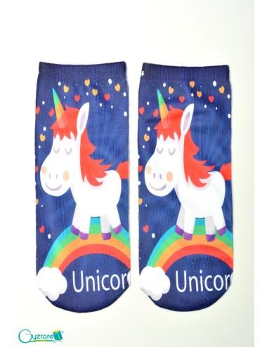 Medias azules con estampado de unicornio y arcoiris