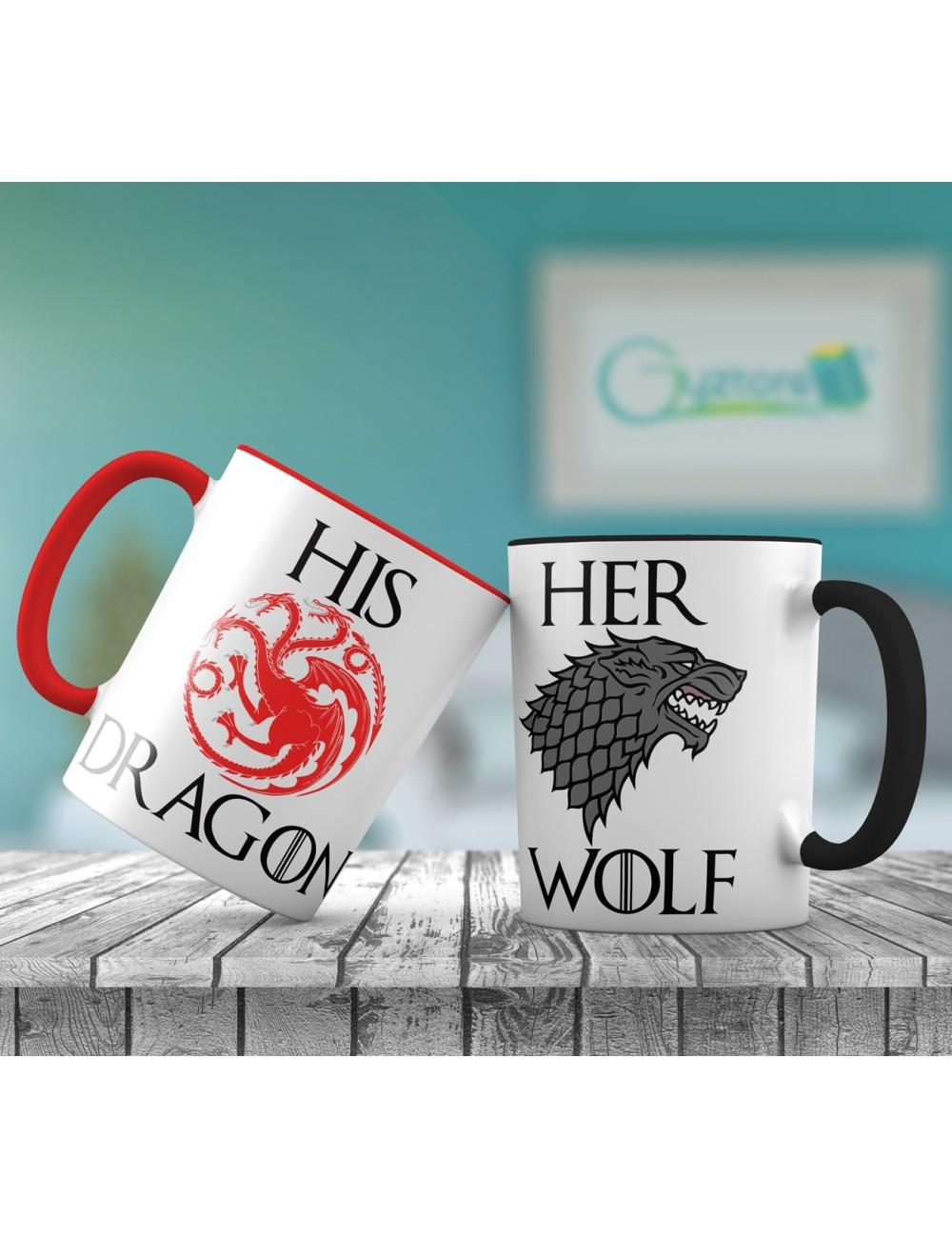 "Tazas para parejas ""Her Dragon, Her Wolf"""