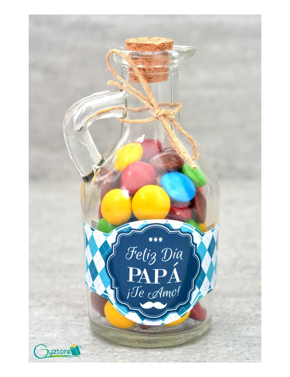 Botellitas rellenas de chocolates para Papá