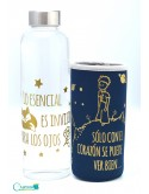 Botella de vidrio diseño de El Principito