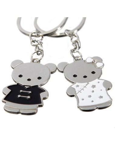 Llavero doble para pareja de oso