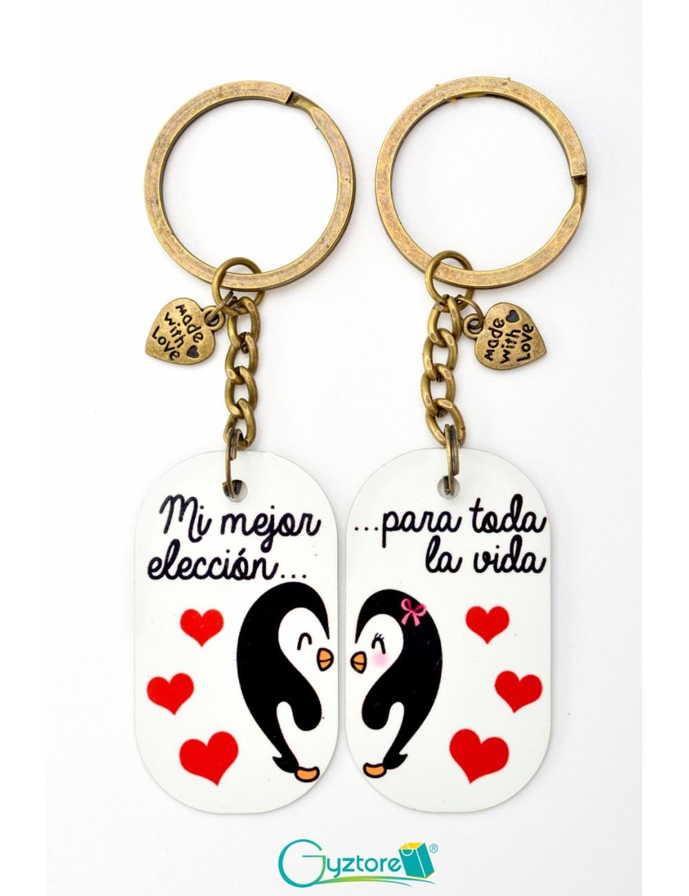Llavero para parejas de pingüinos