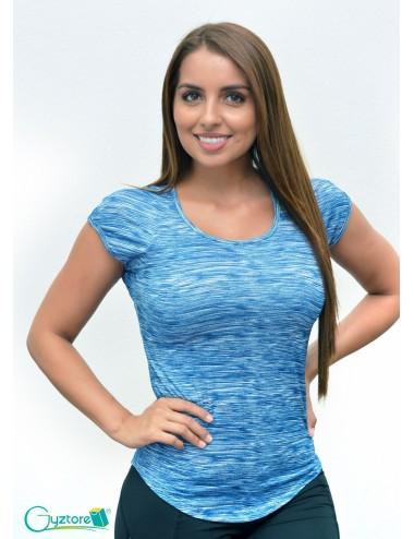 Blusa deportiva manga corta estampado azul