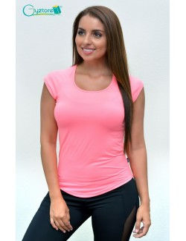 Blusa deportiva manga corta color rosado