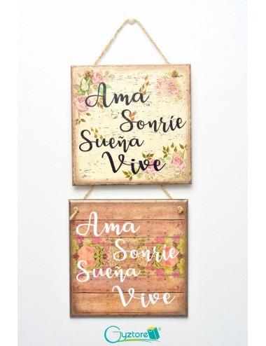 """Cuadro artesanal """"Ama, Sueña, Sonríe, Vive"""""""