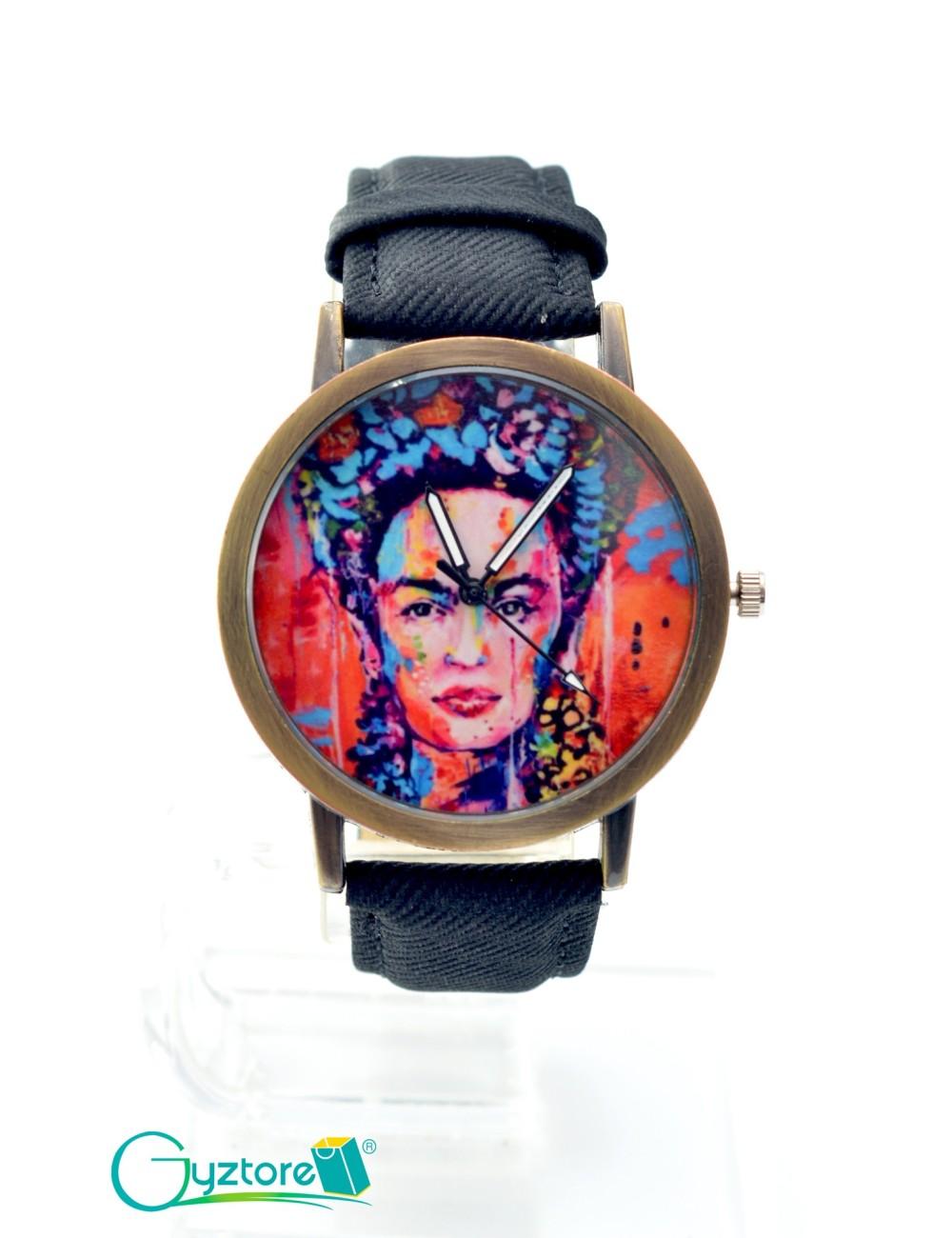 Reloj diseño Frida con faja negra