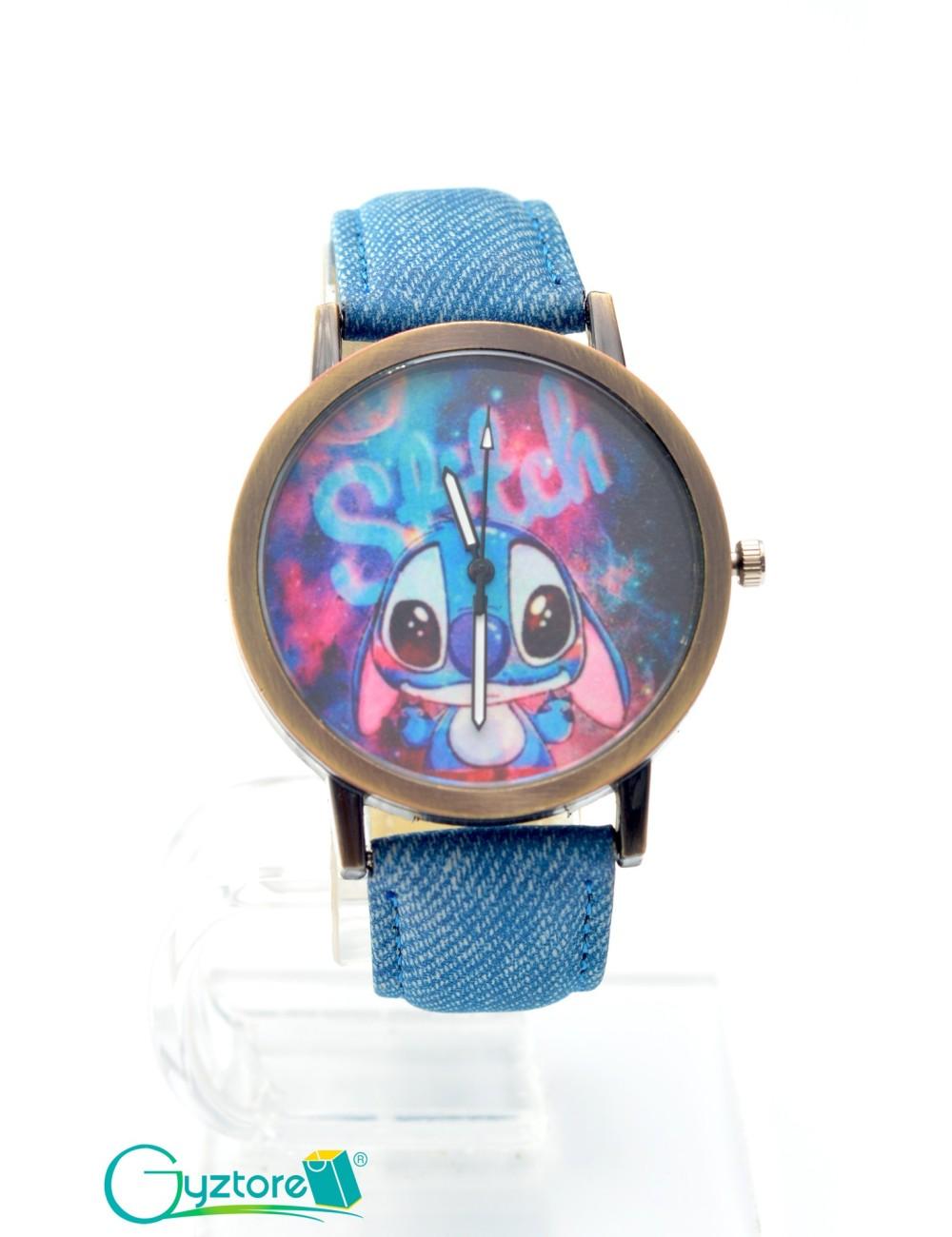 Reloj diseño Stitch con faja azul