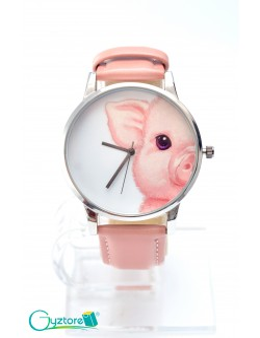 Reloj diseño de chanchito con faja rosada