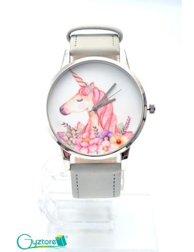 Reloj diseño de Unicornio con faja gris