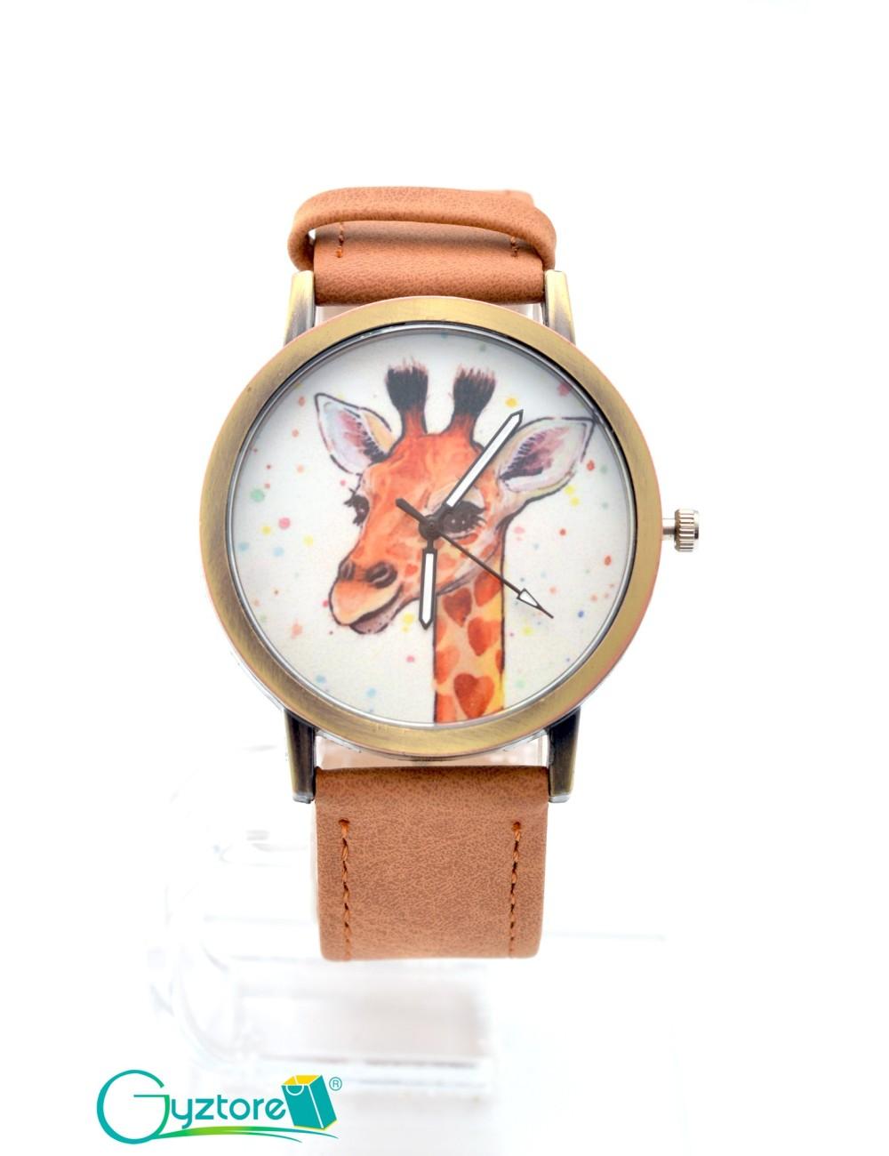 Reloj diseño de jirafa con faja cafe